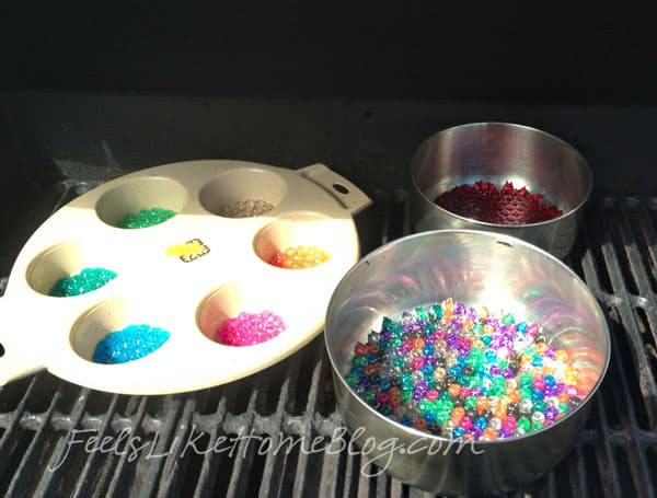 Trays of beads before they were melted