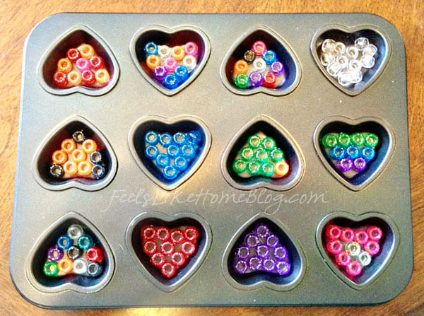 Pony beads in a muffin tin