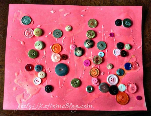 Button art by a little girl