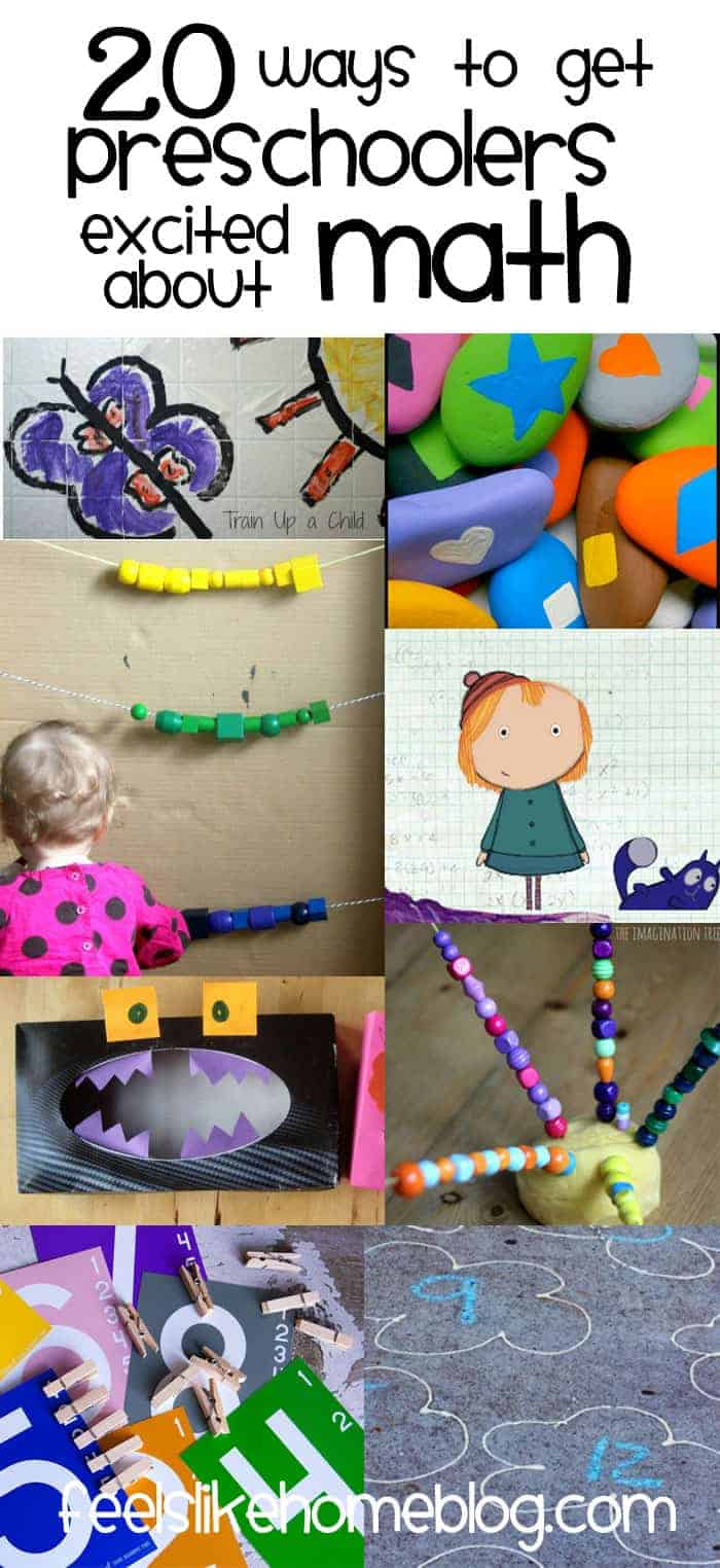 20 ways to get preschoolers excited about math - the best games, activities, and lesson ideas for teaching preschoolers in a classroom or at home about math concepts including games, play, cooking, and much more. Counting skills, measurement, numbers, shapes, and more.