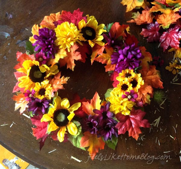 Kids Fall Leaf Wreath Craft - Finished Wreath