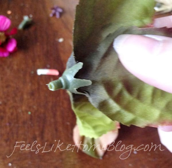 Autumn Wreath Craft for Kids - Remove plastic ends from leaves and flowers