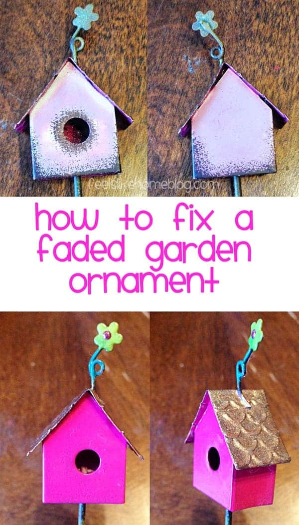 Paint washes off! Learn the secret of repainting a faded garden ornament so that it will stay bright and beautiful.