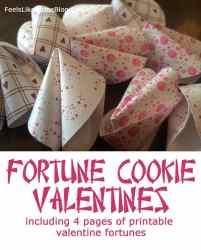 Fortune Cookie Valentines with 4 pages of printable Valentine fortunes