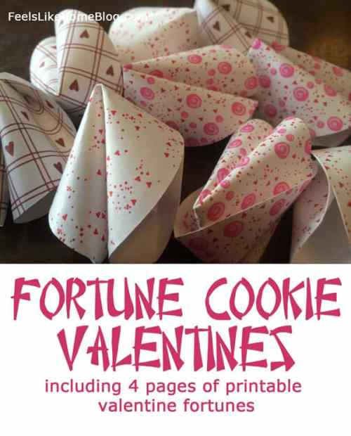How to make simple, fun, homemade paper fortune cookies for Valentine's Day or Chinese New Year. Includes 4 pages of printable Valentine fortunes and love messages. Great ideas for kids or adults. Great crafts for the holidays. Nicely written tutorial with lots of instructions and tips.