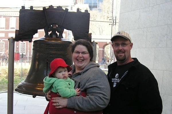 Tara Ziegmont and her family standing in front of the Liberty Bell