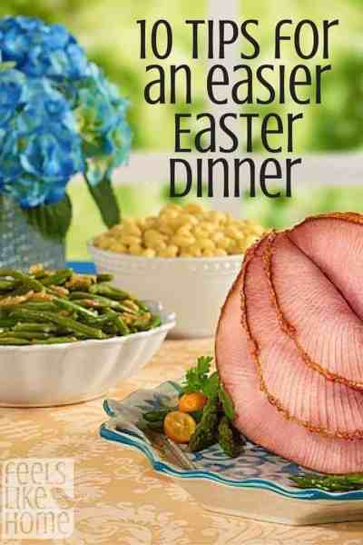 Easter dinner on a table