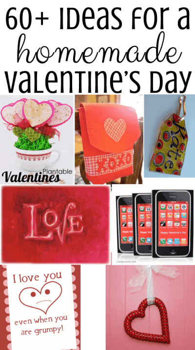 A collage of homemade Valentine\'s Day crafts