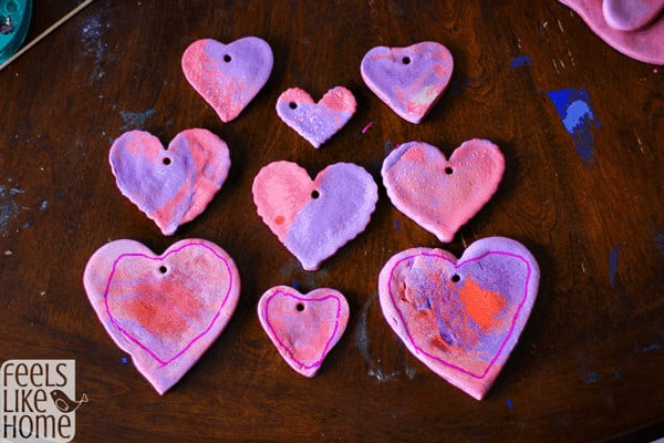 colored salt dough - finished marbled hearts