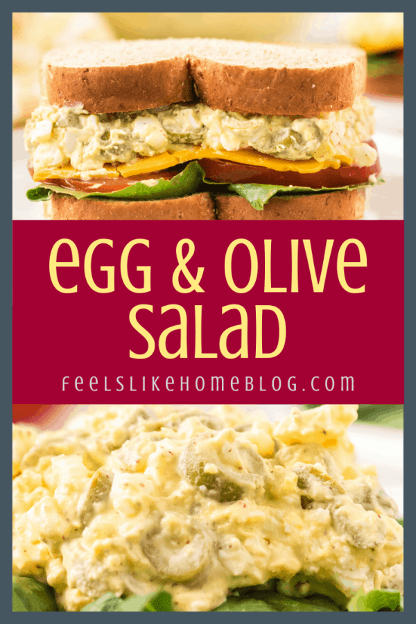 collage of an egg salad sandwich and egg and olive salad
