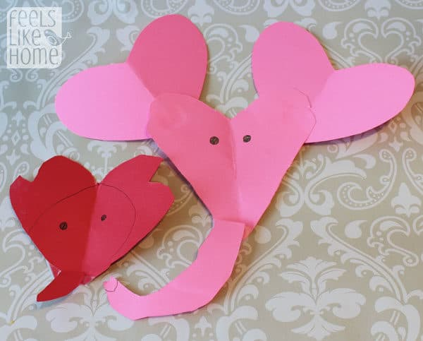 Valentine's Day heart-shaped animal crafts for kids elephant