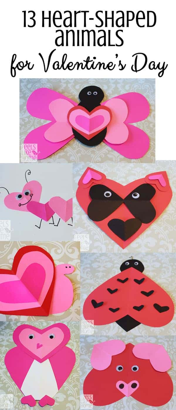 These cute animal crafts for kids are all made from hearts, perfect for Valentine's Day! They could easily be made by preschoolers, or even older kids and teens because they are simple and easy. These quick DIY art projects and craft ideas are perfect for school, church, or home. Fun to give friends or family as gifts to hang on the fridge!