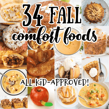 collage of fall comfort foods