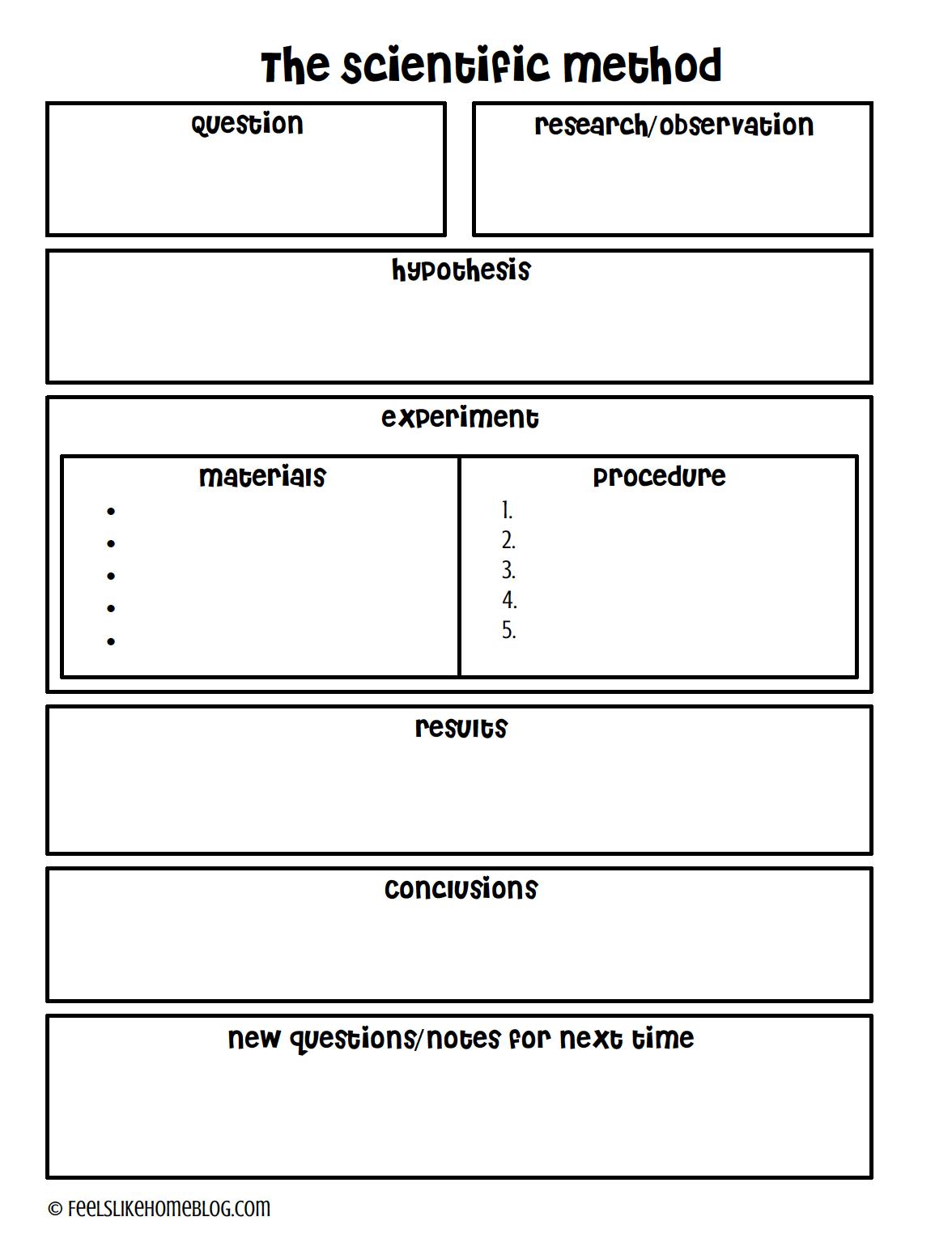 Science Experiment Scientific Method Worksheet Science