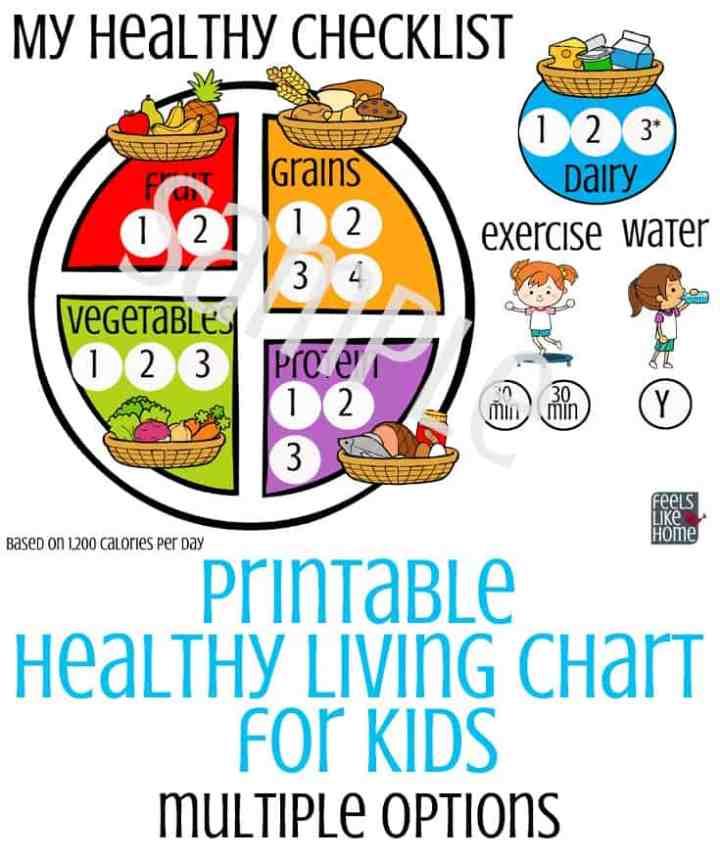printable healthy living chart for kids sample