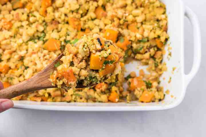 cooked stuffing with roasted autumn vegetables