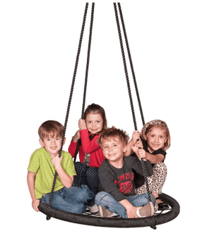 A group of kids sitting on a large swing