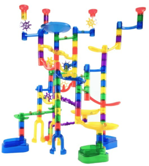 A close up of a marble run toy