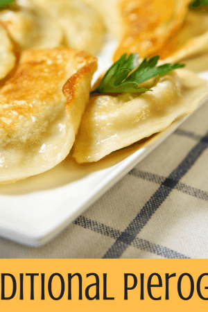 Traditional pierogies with butter and onions - This simple and easy recipe starts with a box of frozen pierogies and takes just a few minutes to sauté with butter and onions. Topped with a bit of sour cream, they make a perfect side dish.