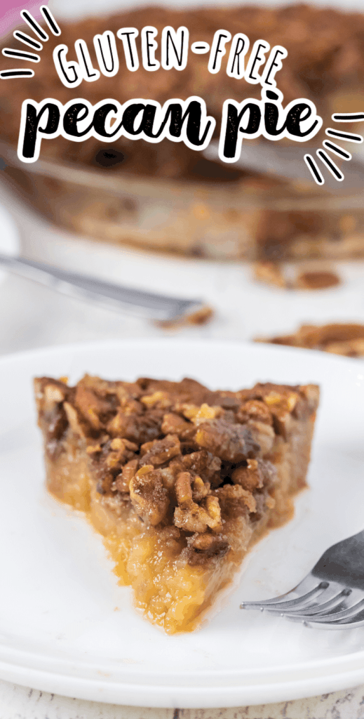 one slice of pecan pie with no crust on a white plate