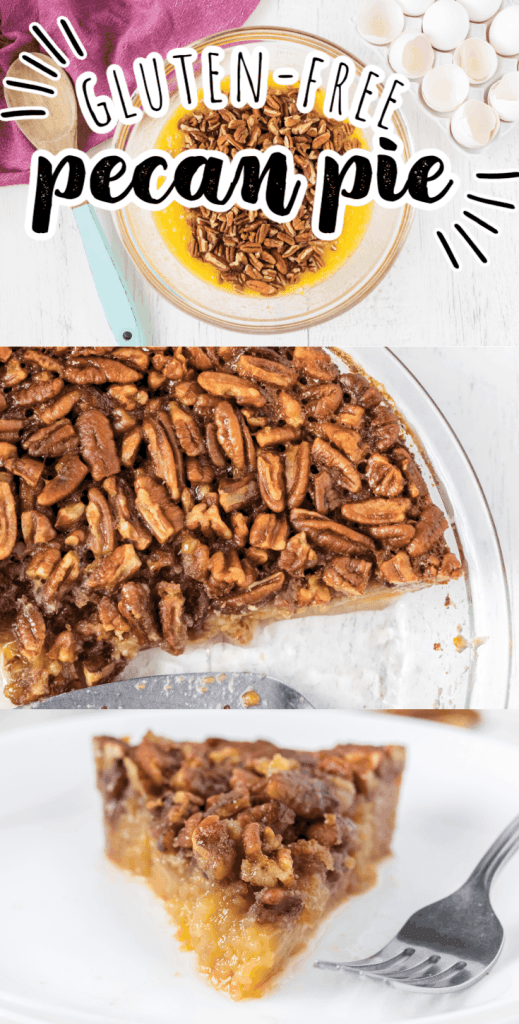 a collage of pie with pecans