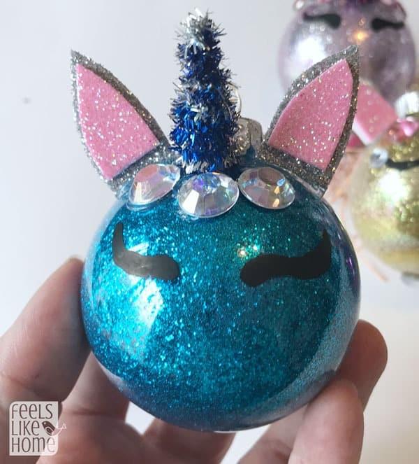 A unicorn Christmas tree ornament