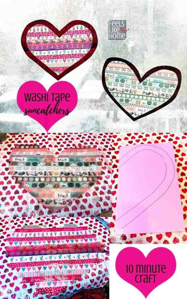 A collage of washi tape suncatcher photos