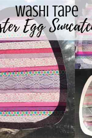 This simple and easy Easter egg suncatcher craft uses washi tape and cardstock. It couldn't be easier! Perfect for toddlers, preschoolers, kids, teens, or adults because it makes a beautiful craft to hang in the window. Sun catchers perfect for spring.