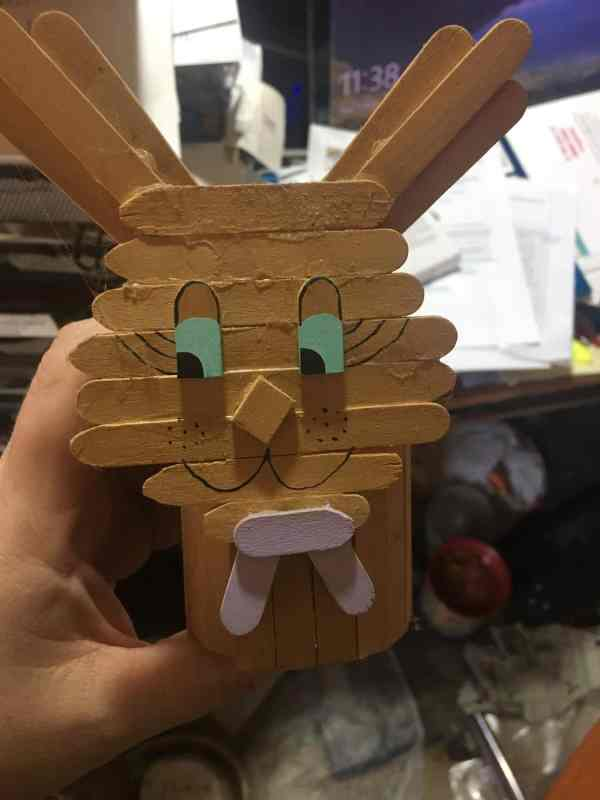 Easter bunny made out of popsicle sticks