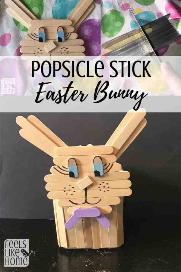 Collage of photos of easter bunny made out of popsicle sticks