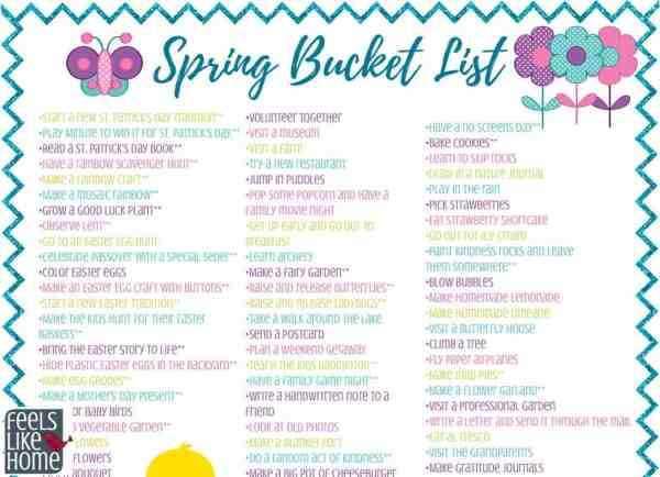 Spring bucket list - Over 100 ideas for kids, teens, families, and adults! Includes crafts, recipes, and lots of fun activities indoors and outdoors. Free printable.