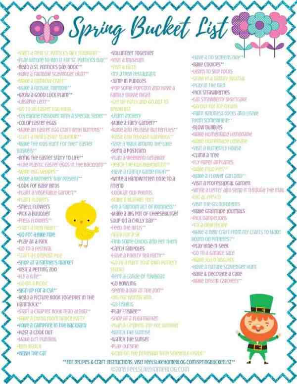 Spring bucket list printable for families
