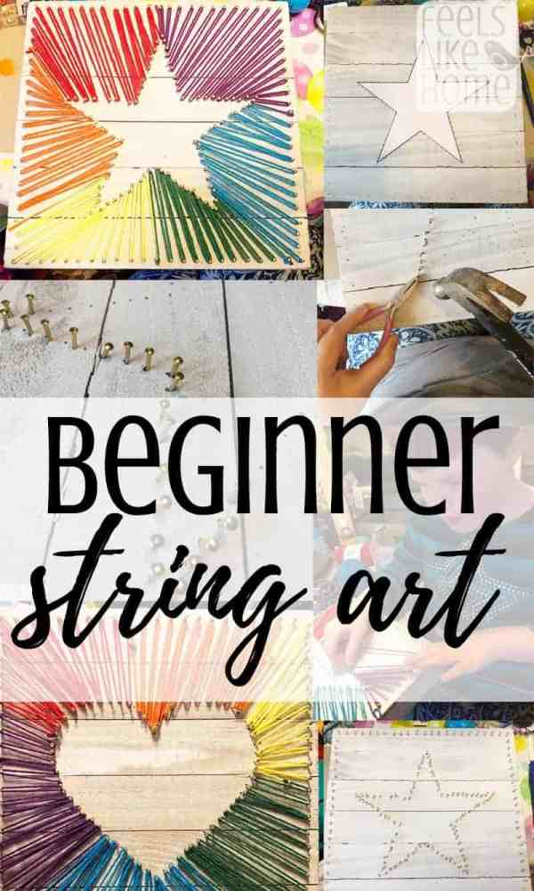 How to make easy string art for beginners - This simple step by step tutorial shows how to DIY string art with yarn, cords, or twine (embroidery thread doesn't look as nice). Includes patterns and can be made by kids or adults. Creative design ideas for a heart and a star. Includes simple ties and knots. Great fine motor activities!