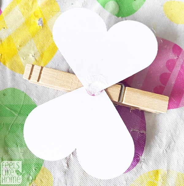 Glue a clothespin onto the middle of the hearts