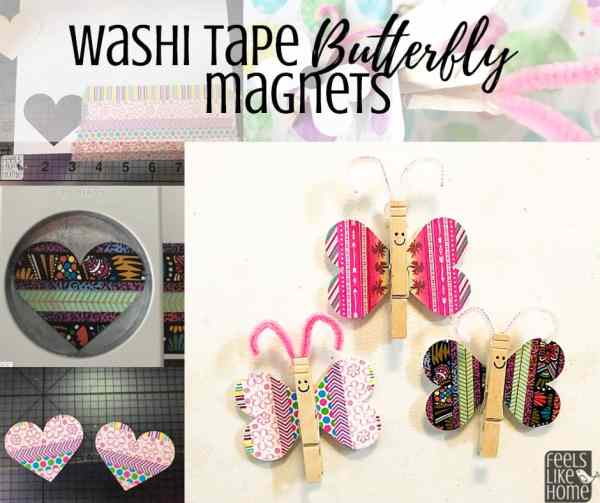 A collage of washi tape butterflies