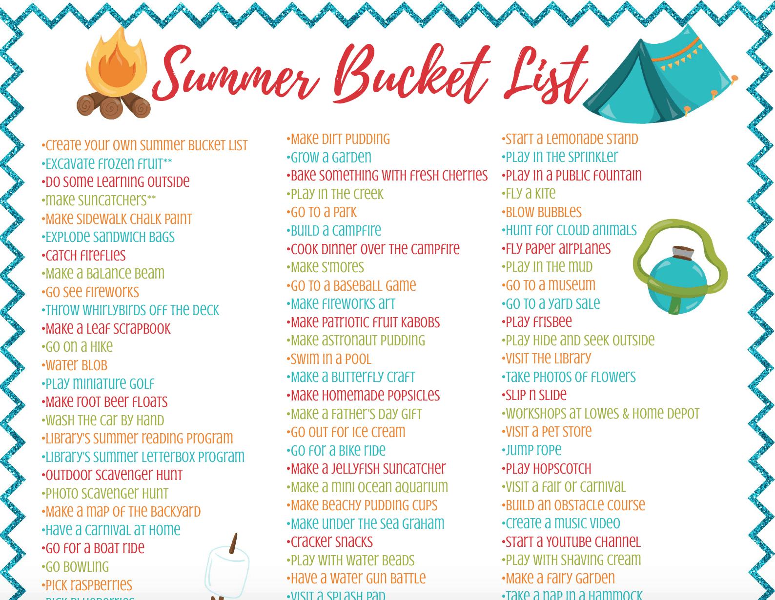 Summer Bucket List Craft For Kids