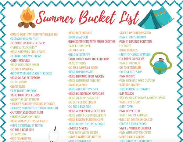 Summer bucket list - Over 100 ideas for kids, teens, families, and adults! Includes crafts, recipes, and lots of fun activities indoors and outdoors. Free printable.