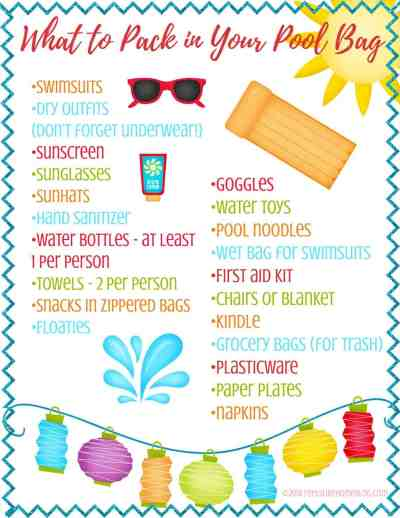 What to pack in your pool bag - A day at the swimming pool is fun and relaxing, but only if you know how to pack for it! This free printable checklist will get you there prepared for whatever happens.