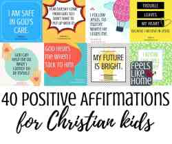 40 positive affirmations for Christian kids - You will find tons of encouragement and inspiration for anxiety and anxious, worried thoughts in these 40 printable positive affirmations cards for Christian kids. Calm, peaceful thoughts for kids with anxiety, these inspiring words will expose the truths of God's word in a meaningful, repeatable way.