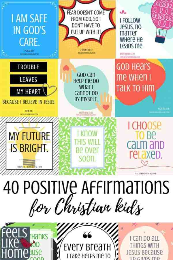 A collage of positive affirmations for kids