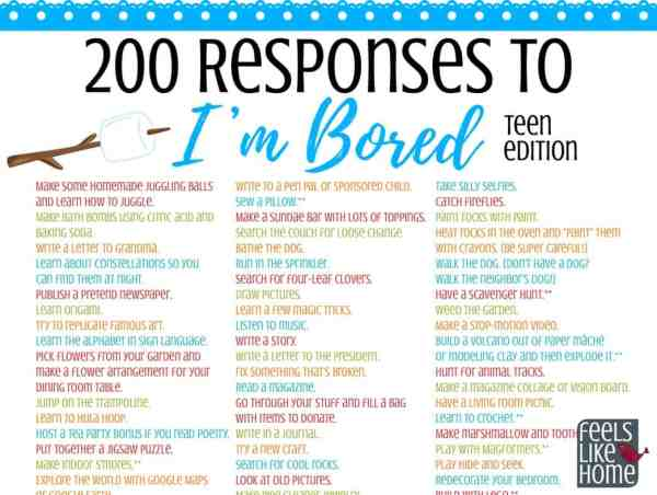 Printable list of things for teens to do when they\'re bored