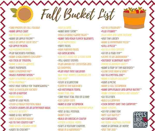 Fall bucket list - Over 100 ideas for kids, teens, families, and adults for the autumn season! Includes crafts, recipes, and lots of fun activities indoors and outdoors. Free printable.
