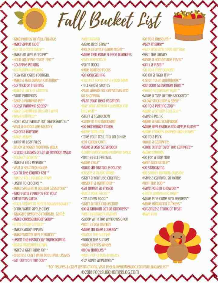 fall bucket list printable on a white background