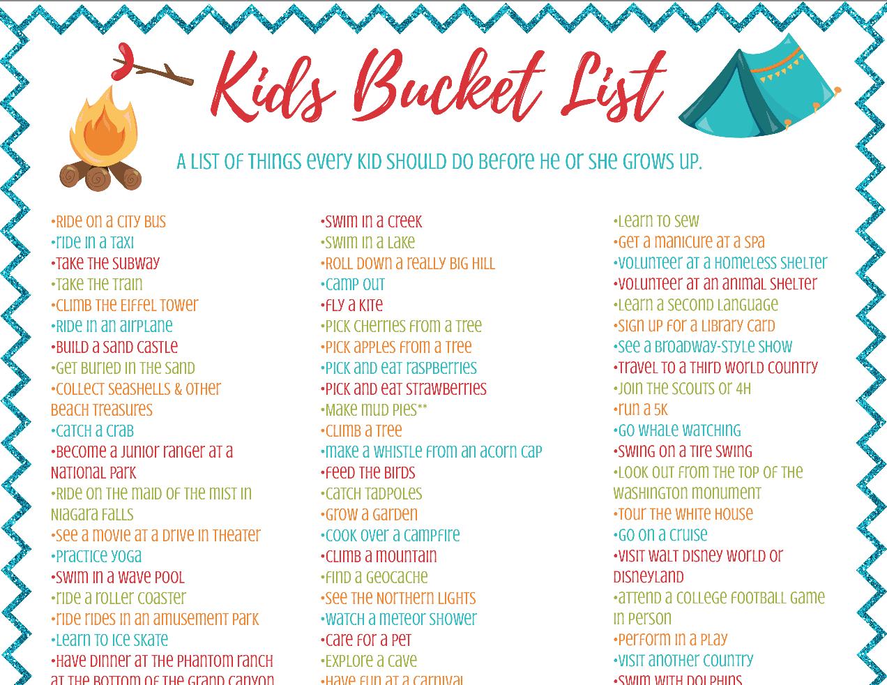 A Kids Bucket List