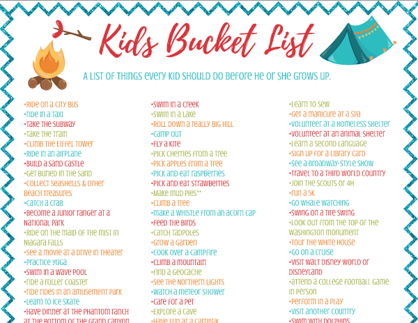 Printable kids bucket list