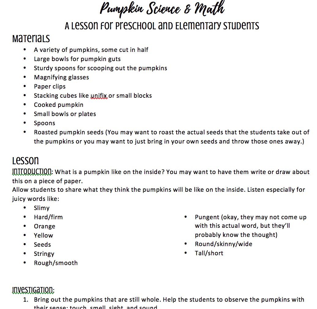 Pumpkin Science Lesson Plan For Preschool Kindergarten