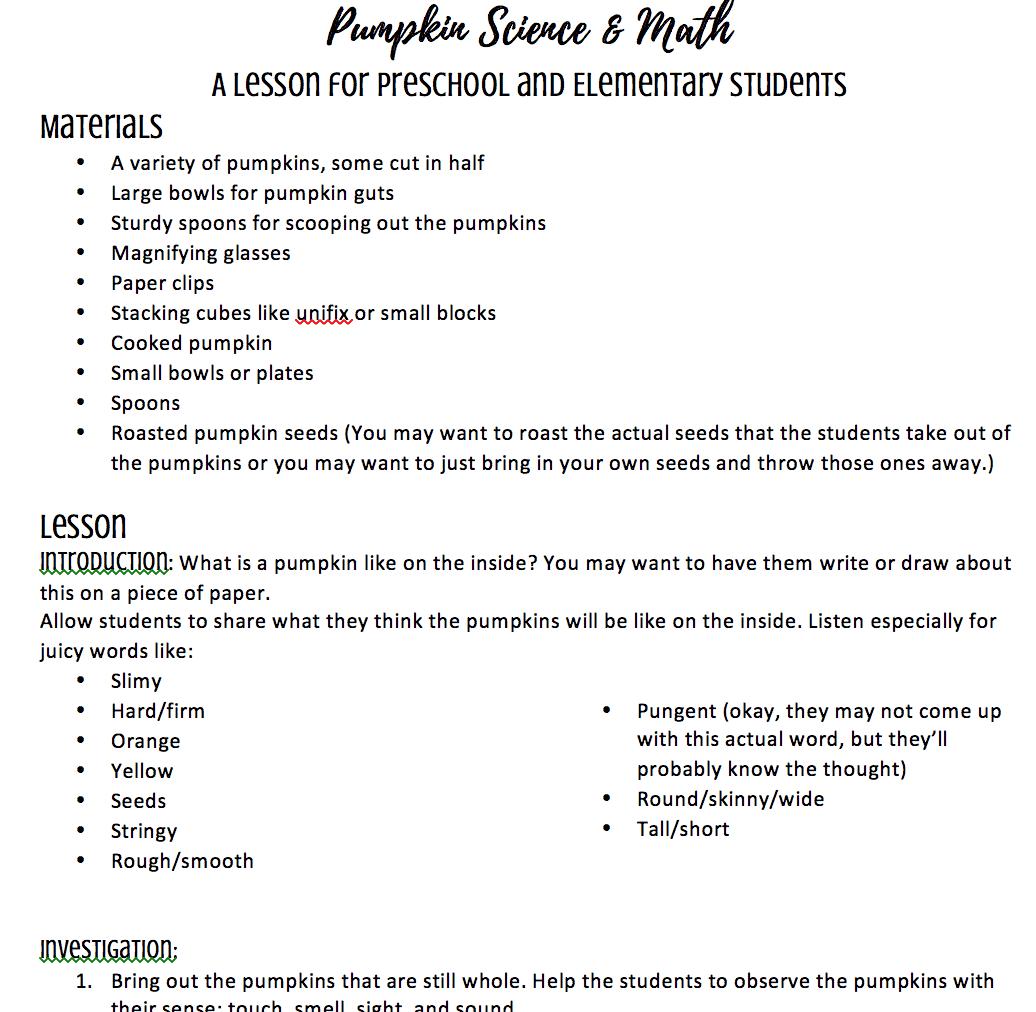 pumpkin science lesson plan for preschool kindergarten and