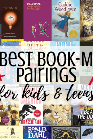 The best book movie adaptations for kids, teens, and families. Even adults will love these pairings. Awesome picture books, kids books, and young adult books with movies to compare. Includes Harry Potter and both fiction and nonfiction, lots of stories about real life and fantasy. Great for homeschool.