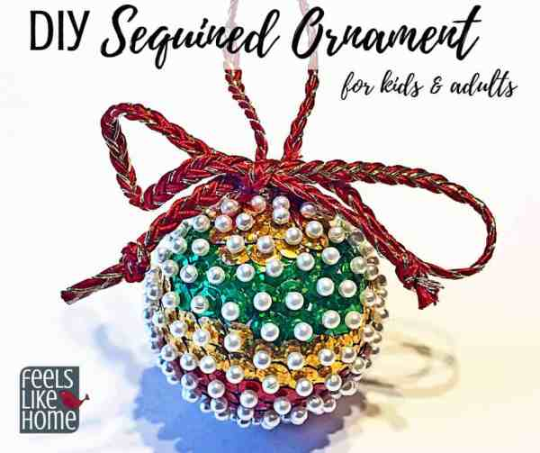 A sequined Christmas ornament