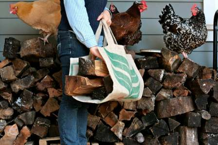 DIY burlap firewood carrier